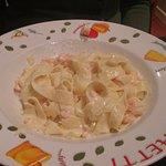 shrimp fettucine; bland, with commercially peeled bulk shrimp