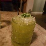 Green Monster drink, chili cheese nachos Salman and steak