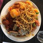 Yummy lunch at real china today !!! Prawns chow main!! lamb!!  and pork!!!