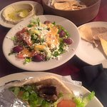 We ordered the gyro sandwich with feta salad and hummus and pita bread.