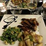 Lamb and potatoes. Confit de canard and potatoes