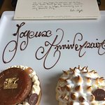 Complimentary Anniversary gift of pastries from hotel staff