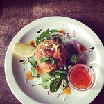 Thai crab-cake, Asian salad, mango & chilli sauce