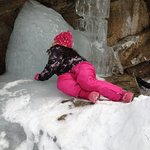 Climbing on icy rocks