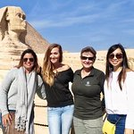 Rasha and three happy travelers at the Sphinx
