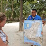 Before you enter the site he puts the Mayan peninsula in perspective.