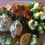 Stuffed salmon dinner with vegetables and cottage cheese, $26