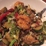 shrimp stir fry and creamy coconut rice