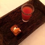 Shooter of gazpacho and papas