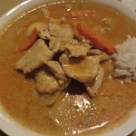 Chicken Massaman curry with a side of complimentary rice