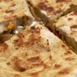 Chicken Quisadillas Are Awesome, has grill chicken, onions, bell peppers & cheddar with salsa si