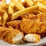 Spicy Chicken Tenders & Potato Wedges very good!