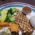Grilled chicken, steamed veggies and mashed potatoes