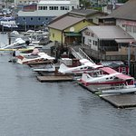 The float planes lined up but not flying due to bad weather