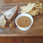 """""""Going nuts"""" banana bread. Cashew butter on the side.Too good."""