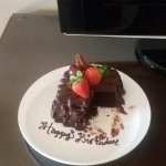 surprise complimentary cake from hotel