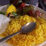 Afghan lamb kebab with yellow saffron rice.