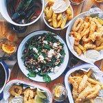 Calamari and Chips, Salad, Mussels