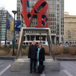 Here we are taking our annual Love Park photo during our visit.