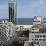 this is the view from the roof-top pool towards Copacabana beach