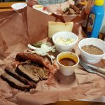 Brisket and sausage meal at Copper's