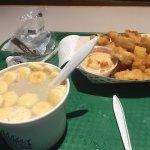 Clam chowder and small calamari order