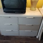 Patched up drawers and ancient TV
