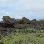 Fotografía de un moai
