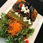 Grilled vegetable sandwich with side salad