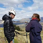 Tirolesa en Cerro Frias con Anne, genia total
