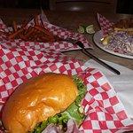 burger and fish & chips plates