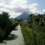The view of the volcano from the walway between rooms.