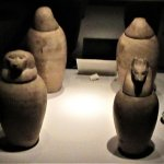 Canopic jars which are used to store the internal organs of those that are mummified.