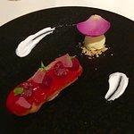 Raspberry, rose & lychee dessert