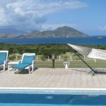 The view across the pool to St Kitts