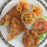Shrimp and fruit appetizer,3 more apps and the fried grouper with broccoli entree