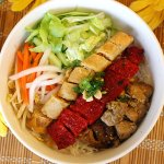 Griled Lemongrass Chicken, Grilled Sausage and Spring Roll Vermicelli