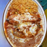 Beef Chies Rellenos with beans/rice