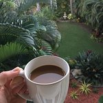 Enjoying a coffee on the balcony, overlooking the grounds (pool to the left)