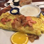 Omelet with onions and lox - it's huge