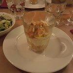 Verrine au fromage frais et tartare de saumon