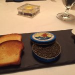 Amuse bouche, caviar, lamb carpaccio, lobster, duck breast with foie gras, intermezzo, cheese, d
