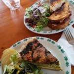We had a slice of quiche and a pastrami sandwich. Both came with a salad.