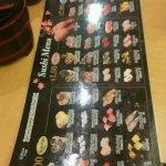 The menu at each table