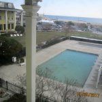 Our view of lawn, pool and ocean beyond