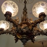 Detail of one of the gas (now electric) chandeliers.