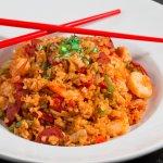 Dak Jambalaya: Chicken breast, shrimp, sausage, bell peppers, onions & tomatoes in spicy seasoni