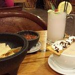 Superb lemon slushy, Good Mexican hot chocolate,  great non-oily chips