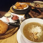 ,home bread. The onion soup slow cooked beef. And New York steak Walden