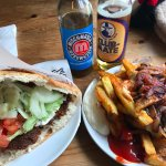 Doner with herb sauce, and special chips. MischMasch and Club Mate